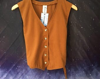 Vintage 70s Copper Colored VEST with Adjustable Back Waist Cincher Size S/M