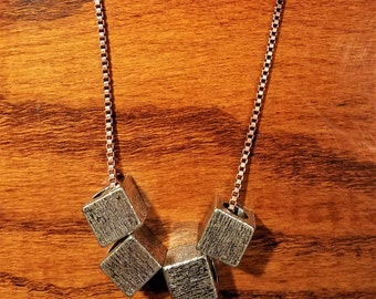 Brushed Silver Blocky Necklace with Brass Box Chain