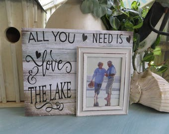 "Wood Picture Frame. ""All You Need is Love and The Lake"", Magnetic Picture Frame, Family Lake Picture Frame, Lake Lover Gift"