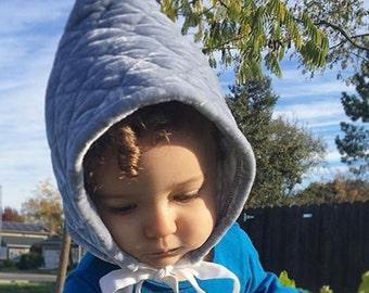 Winter baby bonnet, pixie hat, gnome hat