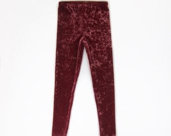 Girls Rust Velvet Leggings, Rust Leggings, Rust Velvet Leggings, Girls Velvet Leggings - Sizes 4/5, 6/6x, 7/8, 10/12 Ready to Ship