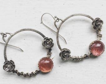 Flower Hoop Earrings, Strawberry Quartz Earrings, Gypsy Earrings, Pink Earrings, Flower and Vine Jewelry, Boho Earrings, Elegant Earrings