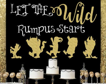 SALE Where The Wild Things Are Backdrop, Let The Wild Rumpus Start Backdrop, Max And Monsters Gold Silhouette, Kids Room Decor, Wild One