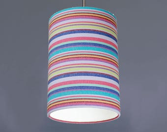 Oddicombe Pastel Multi Coloured Deckchair Stripe Cotton Fabric Drum Lampshade Pendant Pink Lilac Green Turquoise