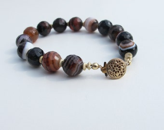 Faceted Agate Beads and Gold filled bracelet