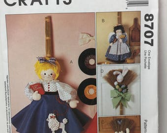 McCall's Crafts 8707 Broom Dolls, 32 inch and 36 inch Doll, Girl in Poodle Skirt, Cat, Bunny, Kitchen Angel, Felt Dolls, Kitchen Broom