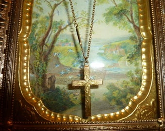 Sweet Vintage Gold Filled Cross With Flower Motif And Chain