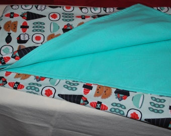 Sushi print reversible cotton flannel receiving blanket