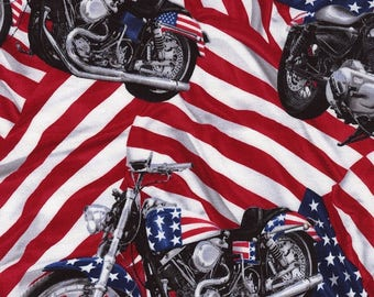 Timeless Treasures USA Harley Motorcycle Quilting Fabric