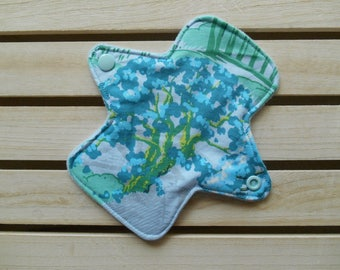 Reusable Mini Panty Liner Blue Meadow Print Cotton Bamboo Fleece Cloth Sanitary Pad