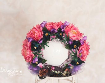 SALE! Flower bonnet for 12-24 months old. Pink, purple. Photo prop. Ready to send