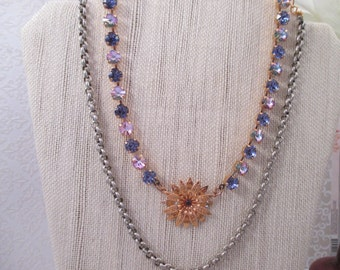 """Swarovski crystals/""""Belle of the Ball""""/Cup chain necklace/Violet necklace/Purple necklace/Tanzanite necklace"""
