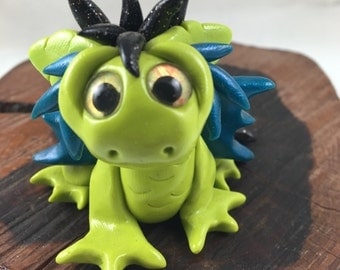 OOAK polymer clay fan-tailed dragon