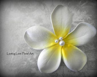 Real Touch Plumeria Hair Flower, Plumeria Hair Clip, Hawaiian Hair Flower, Plumeria Hair Flower, White Plumeria Hair Flower, Frangipani