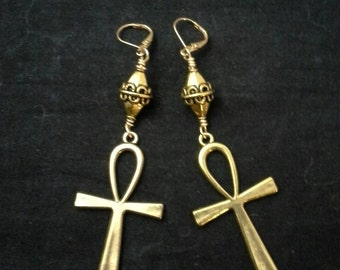 Beautiful Gold Ankh Symbol Earrings.