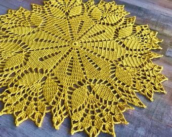 Yellow tulips, Doily crochet, Lacy tulips,  Gift for her, Eco-cotton