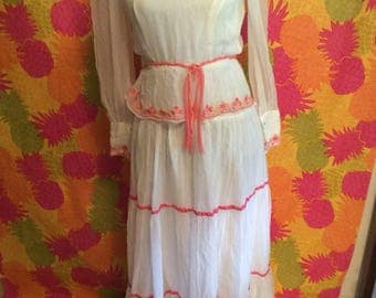 Embroidered  Vintage White Maxi Dress