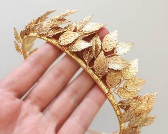 Wedding crown etsy leaf crown tiara rose gold crown bridal tiara wedding crown gold junglespirit Gallery