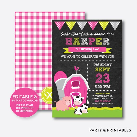 instant download editable farm friends birthday invitation pink