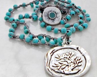 Tree of Life Pendant, Crochet Necklace, Boho Necklace, Turquoise Beads, Surfer Jewelry, Beaded Necklace, Bohemian Jewelry, Beach Necklace