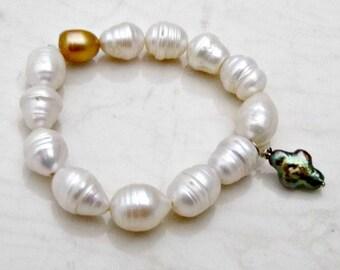 Freshwater Pearl Bracelet, Boho Bridal Stretch Bracelet, Stacking Bracelet, Elastic Bracelet, Boho Bracelet, Wedding Jewelry, Bohemian Cross