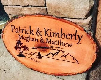 Beach sign, custom beach sign, personalized sign, beach theme, beach wedding, beach house sign, coastal decor, wooden beach decor