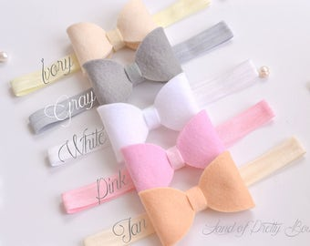Felt Baby Headband - Felt Hair Bow - Felt Baby Bow - Felt Bow Headband - Baby Girl Headband - Baby Bow Headband - Hair Bows Toddler Headband
