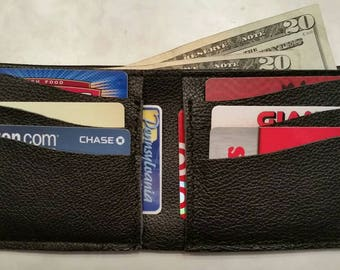Black Leather Men's Billfold Wallet with 6 Card Slots