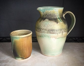 Ancient Ash & Corroded Green Pitcher - Handmade Pottery