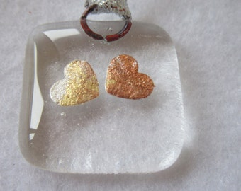Fused glass heart token - heart charm - valentines day - wedding favour - glass art - love token - love gift - mothers day - love heart