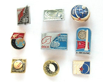 Space, Vintage metal collectible badge, Pick from set, Vostok, Moon, Luna, Spacecraft, Soviet Vintage Pin, Vintage Badge, Made in USSR
