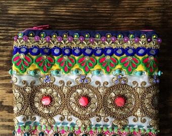 Embellished Bohemian Clutch. Boho Clutch.