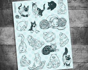 Cat stamps, kitten stamps, siamese cat stamps, persian cat stamps, black cat stamps, tabby cat stamps, rubber stamps by Starving Artistamps