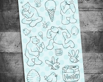 bear stamps, bear stamp sets, bird stamps, bee stamps, honey pot stamps, ice cream stamps, unmounted Rubber Stamps, Starving Artistamps