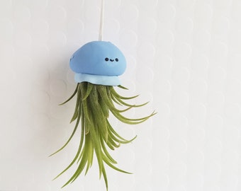 Blue Jellyfish Air Plant Holder, Hanging Planter, Hanging Air Plant Jellyfish, Dorm Decor, Best of Summer, Tropical Decor, Ocean Decor