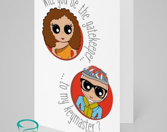 Will you be the gatekeeper... ...to my keymaster? - Ghostbusters themed love, wedding, valentines, engagement greetings card