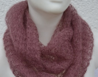 Loop Hose Scarf Scarf LoopSchal rosè Mohair knitted for ladies