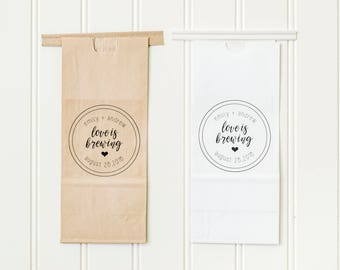 Love Is Brewing Tin Tie Wedding Favor Bags - Coffee Favors, Tea Favors, Treat Bags, Bridal Shower Favors