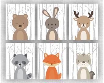 Forest Animals nursery printable, Fox, Fawn, Bear, Raccoon, Rabbit, Chipmunk, Set of 6, 8x10, Woodland Animals Nursery INSTANT DOWNLOAD