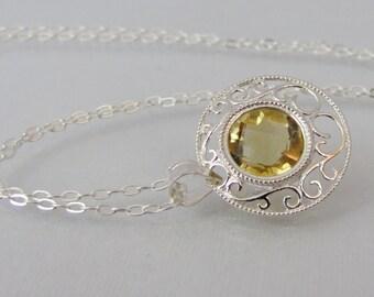 Citrine Filigree Necklace in Sterling Silver, Citrine Pendant, 10mm Brazil Citrine Gemstone, Citrine Jewelry, November Birthstone