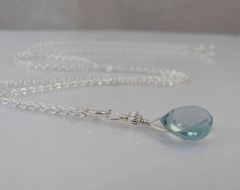 Aquamarine Necklace in Sterling Silver, Aquamarine Gemstone, March Birthstone Jewelry, Aquamarine Pendant, Birthstone Gift, Gift for Her