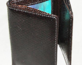 Genuine Salmon Skin Tri-Fold Wallet .... dark Brown