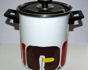 Vintage Enamelware Vegetable Steamer basket Moneta Italy Mid Century enamel stock pot dutch oven italian cookware atomic mcm midcentury