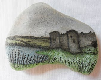 Carew Castle, Wales - Acrylic miniature painting on English sea glass