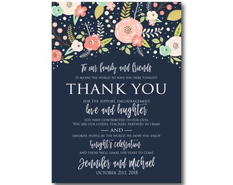 Floral Wedding Thank You Note, Boho Wedding, Boho Chic, Chic Wedding, Boho Thank You, Thank You Note, Wedding Thanks, Thank You Card #CL324