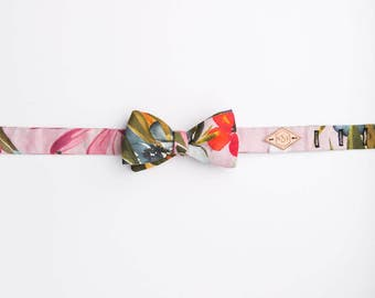 Wedding Bow Tie, Tropicana Floral Bow Tie, Floral Bow Tie, Luxury Bow Tie, Gift for him, Linen Bow Tie