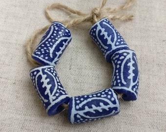 Gye Nyame handpainted krobo glass beads, 5x African powdered glass beads.