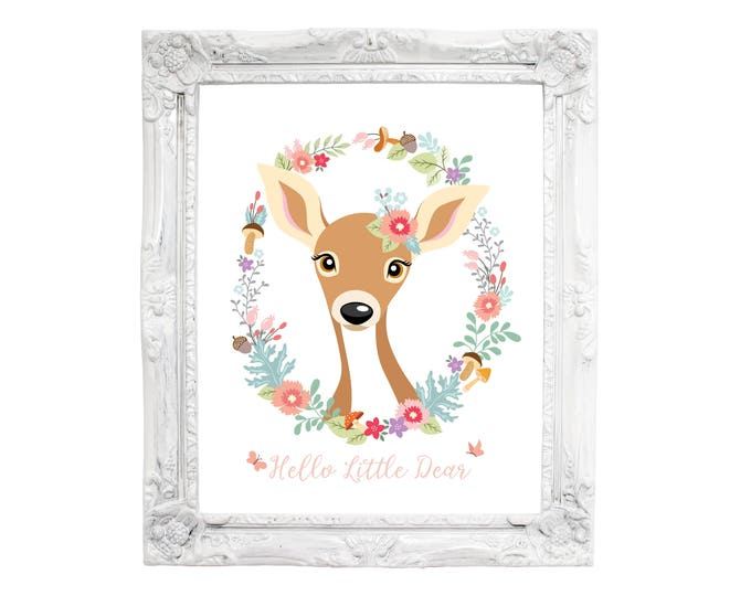 Woodland Deer-Fawn Wall Art, Girl's Floral Deer Wall Art, Nursery Decor, Nursery Baby Deer / Woodland Deer Decor
