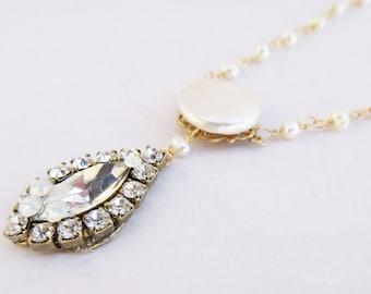 Claire Freshwater Pearl Necklace, Pearl Bridal Necklace, Pearl Wedding Necklace, Freshwater Pearl Necklace, Swarovski Rhinestone Necklace