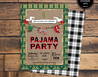 Christmas Pajama Party Invitation (Digital File or Prints with Envelopes) (FREE Shipping) (ALL Wording can be changed)